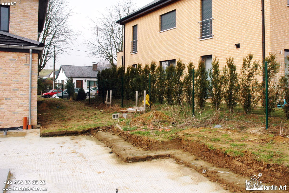 Am nagement plantations cl tures et espace avant d 39 une for Amenagement pelouse